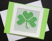 St. Patrick's Day Card, Irish Card,Shamrock Card, Handmade Greeting Card, Cross Stitch Card, Kindness, Share Kindness, Blank Greeting Card
