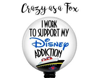 Disney Cruise Addict Retractable Badge Holder, Badge Reel, Lanyard, Stethoscope ID Tag, Nurse, RN, student, teacher, md, pa, cna  Gift
