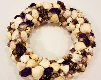 Shell Wreath, Shell decoration, Natural White Nord Sea shell Wreath