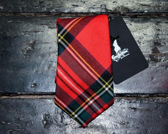 Red tartan tie