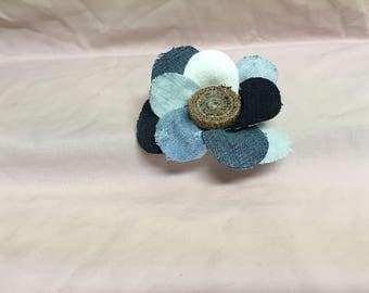 Denim Flower Hair Clip