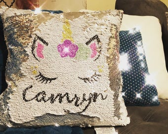 Unicorn sequin mermaid pillow *customized*
