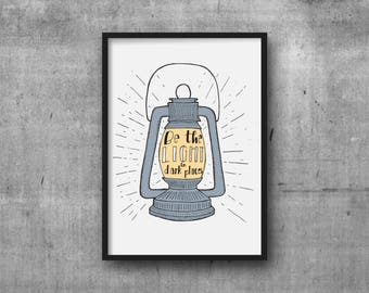 Be the Light in Dark Places, art print, inspirational art, wall art, office decor, home decor, illustration