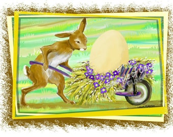 Rabbit Delivering Easter Egg