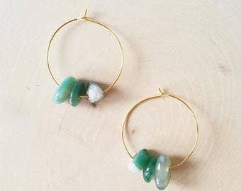 Thin Hoops, Gold Hoop Earrings, Simple Gold Hoop Earrings, Moss Agate Earrings Gold, Valentine's Day Gift, Gift for Her, Gift for Women