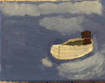 Dog in Boat Painting