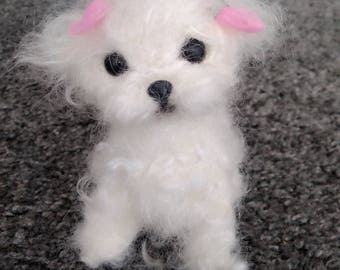 Needle felted Maltese/Poodle puppy/dog