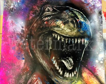 28 x 22 Dinosaur Spray Paint Art