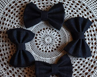 Dark Denim fabric bow