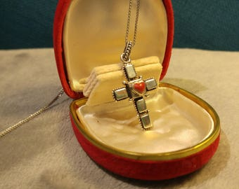 Silver Cross with Red Heart Pendant Necklace– Sterling Crosses- Southwestern Jewelry – Religious Jewelry – Valentine's Day
