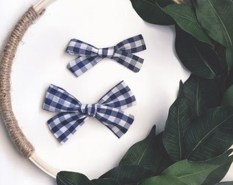 Navy Blue Gingham Classic Hand Tied Bow Bubble Knot Bows Nylon or Clip
