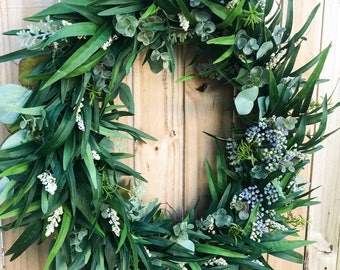 Handmade Olive Branch Wreath | Home Decor | Wedding Decor | Modern | Farmhouse | eucalyptus | everyday wreath | Spring