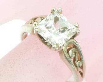 Cut Conered Square Cut Silver Engagement Ring Size 6.25 Weighs 3.0 Grams
