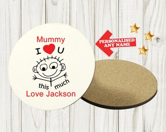 Personalised Mother's Day Coaster Custom Bespoke Idea Gift Best Mum Mummy Best Nan Nanny Grandma For Her Any Name Circle DE4