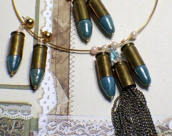 Bullet Casing Necklace Set - Vintage - Recycled - PMC 45 Auto - Golden Brass - Brass Ox - Necklace Bracelet Earrings