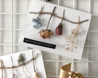 Dried Flower Cards (Hanging Dried Flowers - Pink)