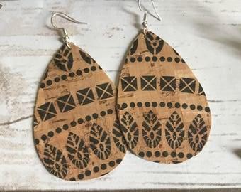 Tribal Black Tan Cork Leather Teardrop Leather Earrings
