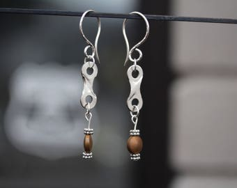 Recycled Bike Chain Earrings Silver with Bead Detail and French Hammered Wire