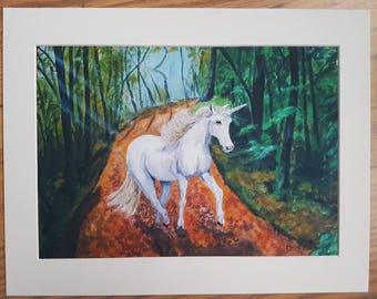 Unicorn in the woods art print