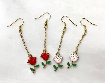 Type2 2 Color Way Rose Flower Earrings Red/Pink