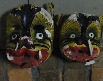 Antique pair of handmade mask