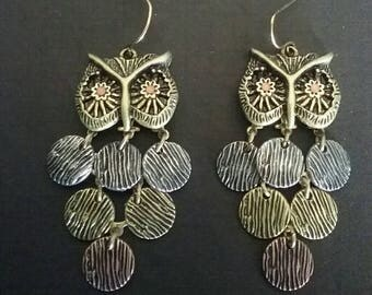 Vintage 3 Color Toned Owl Earrings