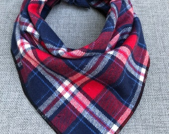 Red and Navy Dog Bandana, Flannel Bandana, Tie Dog Bandana