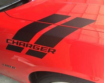 Dodge Charger Fender Stripe w/ Text Hash Mark Vinyl Decal Set 2011 2012 2013 2014 2015 2016 2017 2018 MOPAR SRT HEMI Scat Pack Hellcat