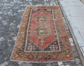 Red color turkish rug, Free Shipping 3.6 x 6.7 ft. low pile anatolian rug, nomadic wool rug, ethnic rug, decorative rug, unique rug, MB281