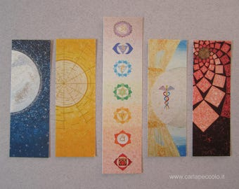 Set of 5 art bookmarks, colors, symbols and sacred geometry, gift idea