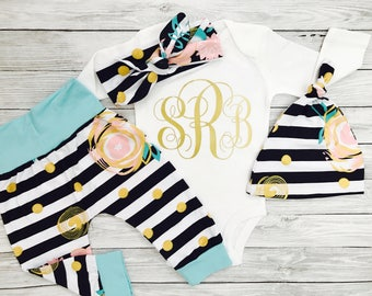 Baby Clothes, Baby Girl Clothes, Newborn Girl Coming Home Outfit, Baby Clothes Girl, Baby Girl Clothes Newborn, Baby Clothes Monogram