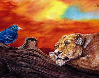 Lion and Bird - Original coloured pencil Ddrawing