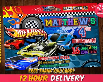 Hot Wheels Invitation with FREE Thank you card, Hot Wheels Birthday, Hot Wheels, Hot Wheels Card, Hot Wheels Party,
