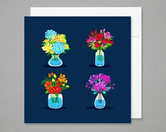 Greeting - flower Pots colorful cards