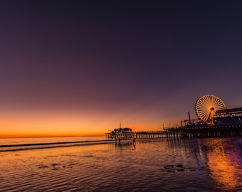Santa Monica Pier, fine art print, california, sunset, travel photography, wall art, decor, art