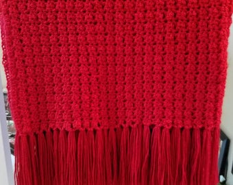 Valentine red afghan with fringe