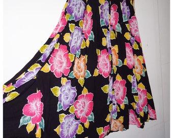 Vintage button down flower skirt    maat 40