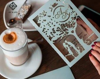 Romantic Laser Cut Wedding Invitation with Couple in Love, Amazing Lasercut Wedding Invitation Card