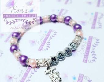 Pink & Purple Diamante Name Bunny Bracelet