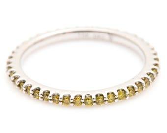 Estate 18K White Gold Yellow Diamond Eternity Wedding Band beverly k collection