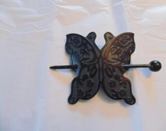 Black leather butterfly hair clip