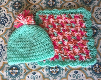 Crochet Infant Hat and Lovey Security Blanket