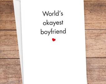 World's Okayest Boyfriend Card