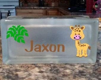 Giraffe Glass Block Nightlight, Children's Nightlight, Personalized Nightlight