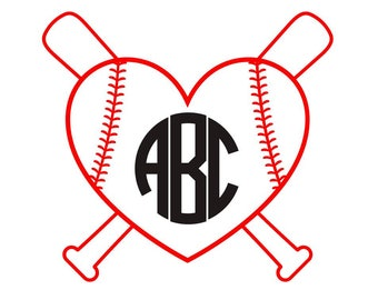 Baseball, Softball Heart Monogram | Letters or Numbers |Perfect for your YETI, Camelback, phone case, car window| Lots of fonts and colors