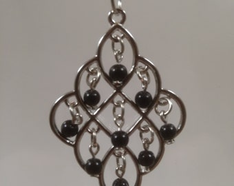 Black and Silver Lace Pendant Necklace