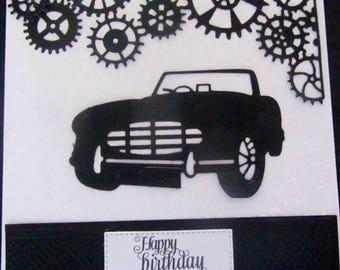 Austin Healey vintage Sports car Happy Birthday Card