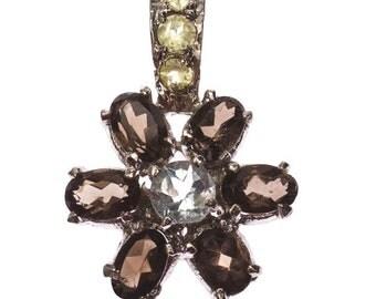 Silver pendant with smoky quartz, peridot, aquamarine