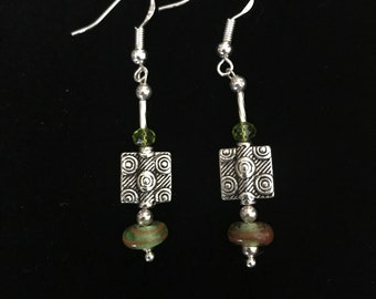 Beautiful Hand-Made Swarovski Crystals with some Vintage Sterling Silver Beads and other Quality Materials Earrings