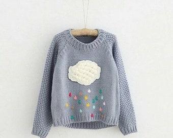 Grey cloud and rain sweater